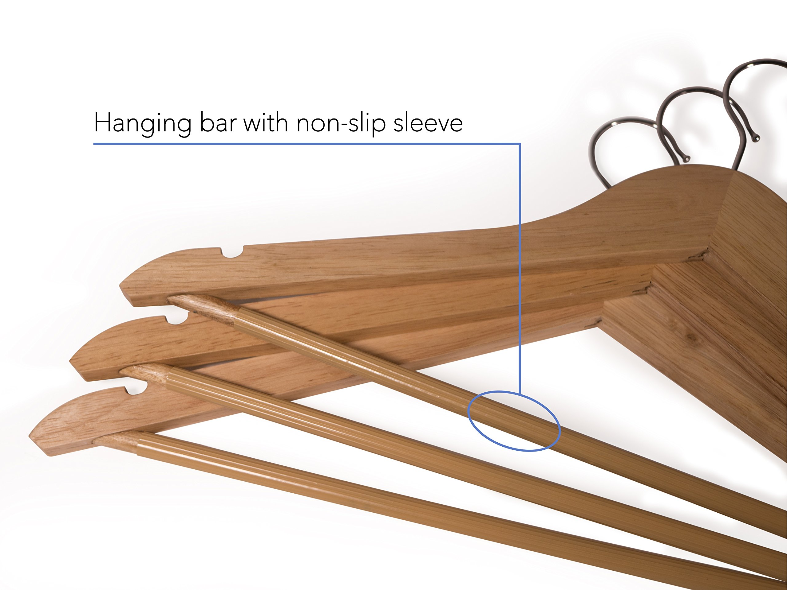 Topline Classic Wood Suit Hangers - 20 Pack (Natural Finish) by Topline (Image #2)