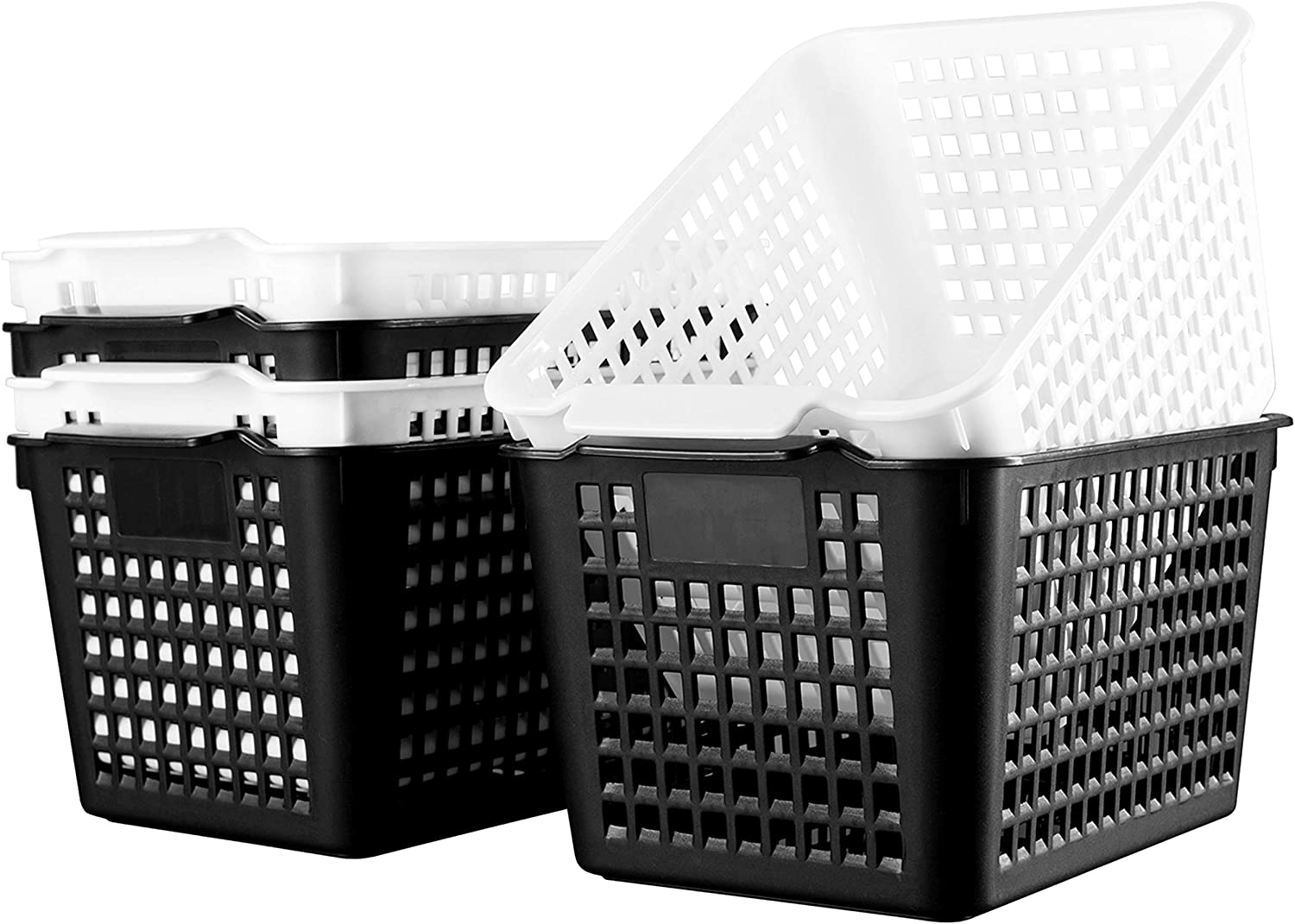 Deep Plastic Storage Shelf Basket Pack of 6, Desktop Organization Plastic Bins Black/White, Plastic Open Storage Baskets