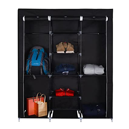 Mari Home Ashby Black Triple Premium Metal Framed Canvas Wardrobe Bedroom...