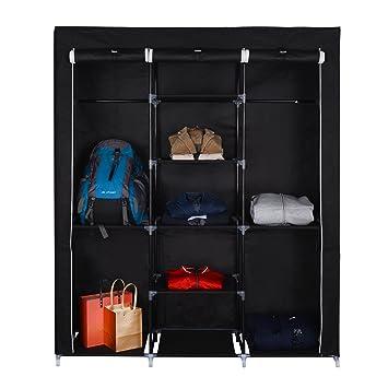 Mari Home - Ashby Negro Marco de Metal Armario de Tela para Closet Textil Plegable Organizador 175 x 150 x 45 cm: Amazon.es: Hogar