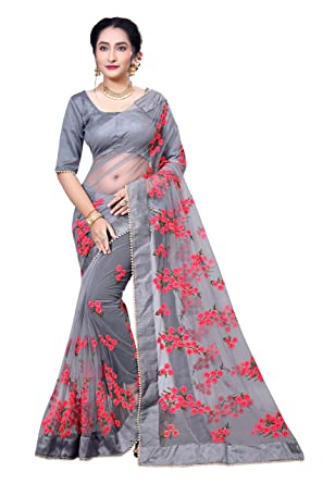 3a01153f98ecf0 I-trendz Women s Net Saree With Banglori Silk Blouse Piece  (Grey BCZS2791 FreeSize)  Amazon.in  Clothing   Accessories