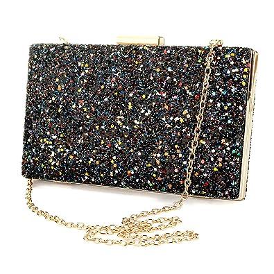 Fashion Womens Glitter Clutch Bag Sparkly Silver Black Evening Bridal Prom  Party Handbag Purse (Black 98a67d304d