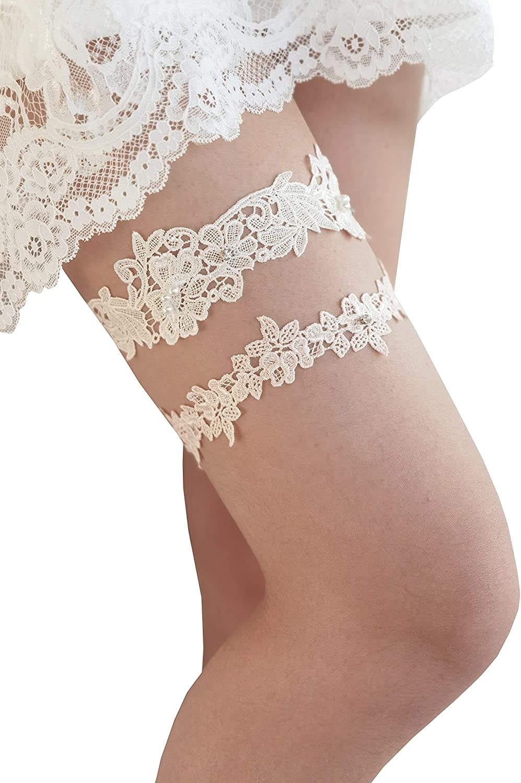 Wedding Garter Set Bridal Garters Lace Pearls with Rhinestones