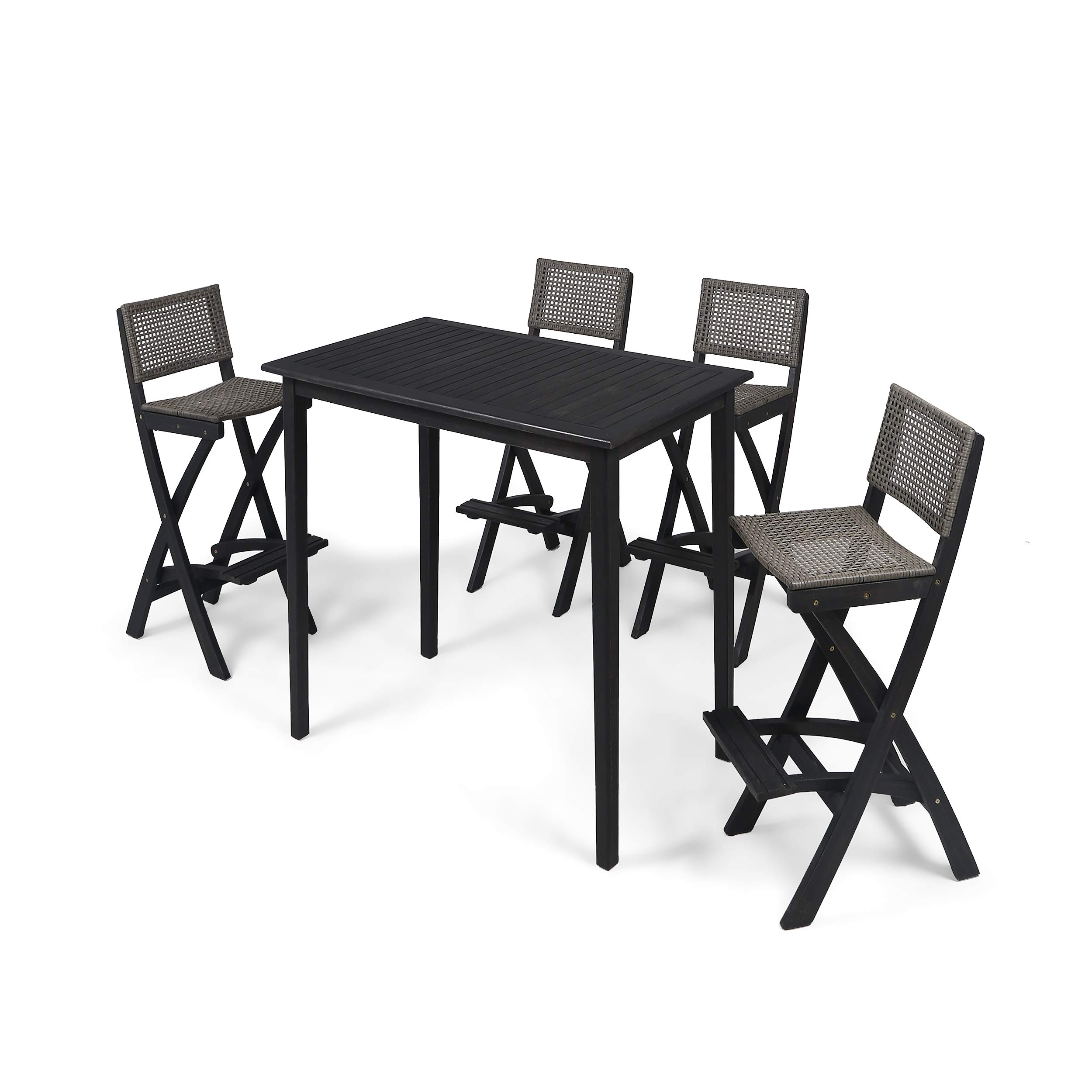 Great Deal Furniture Elizabeth Outdoor 45'' Rectangular 5 Piece Wood and Wicker Bar Height Set, Dark Gray Finish and Brown