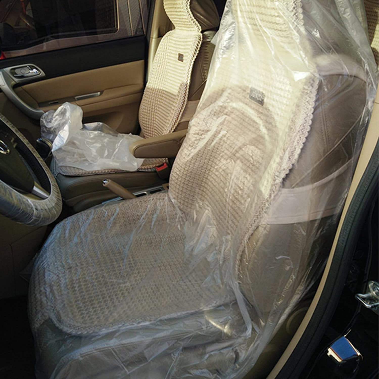 AllTrade Direct 2 x Premium Disposable Plastic White Car Seat Covers 15 Micron Protective Valet