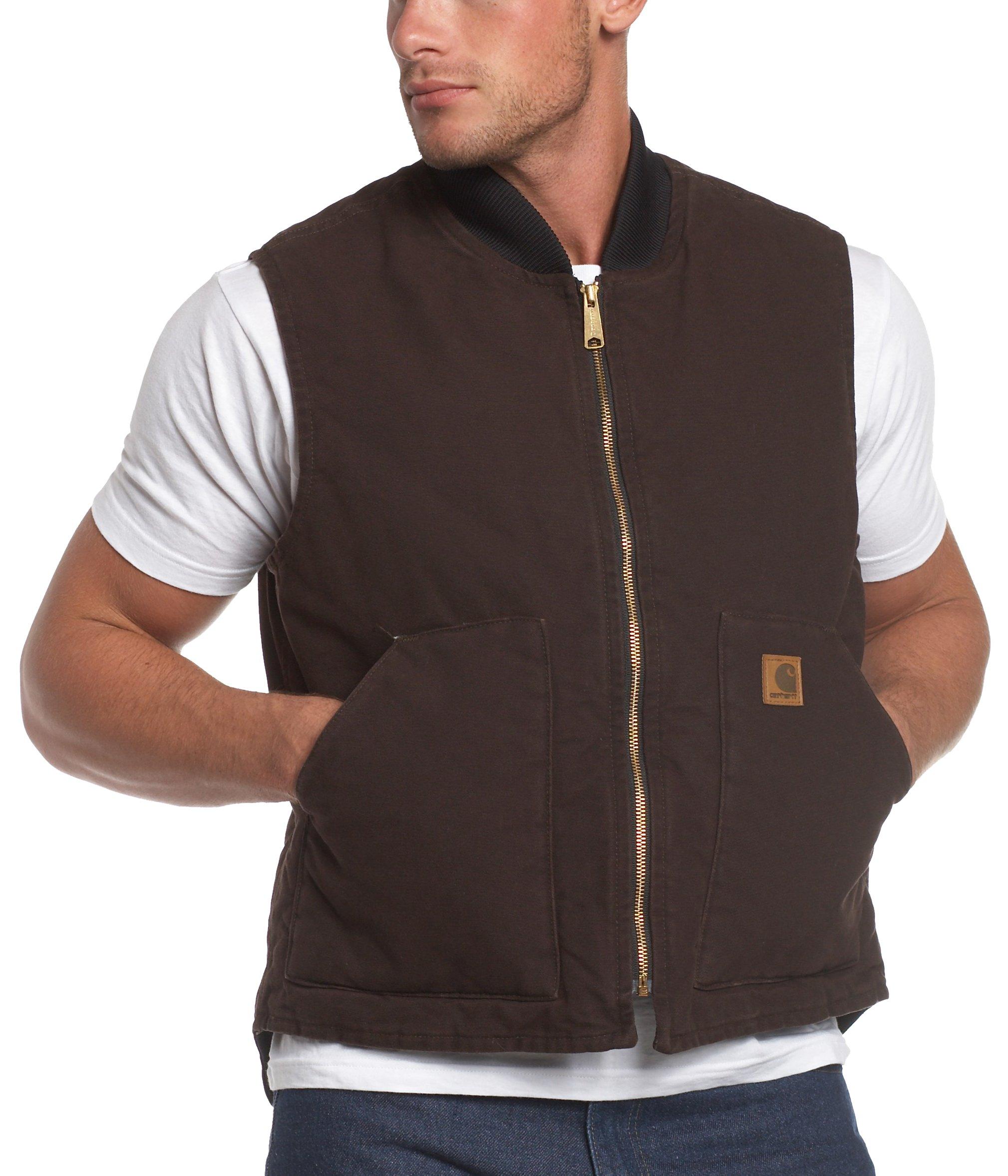 Carhartt Men's Sandstone Vest Arctic Quilt Lined,Dark Brown,Large