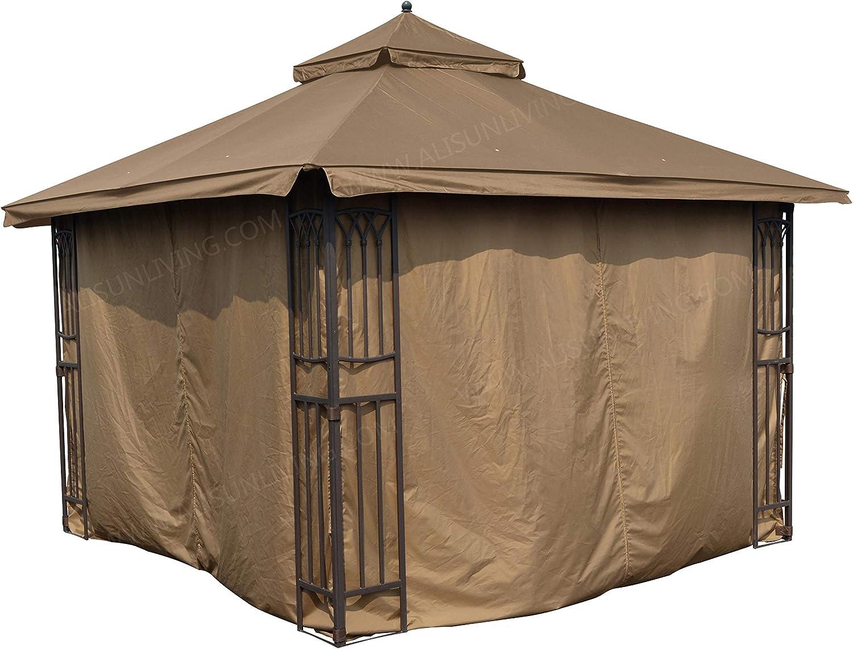 APEX GARDEN Universal Privacy Curtain Set for 10' x 10' Gazebo (10-ft x 10-ft, Tan)