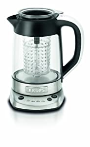 KRUPS FL700D51 Electric Glass Kettle with Incorporated Tea Infuser and Temperature Settings, 1.2-Liter, Silver