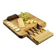 Bamboo Cheese Board and Cutlery Set, Meat and Charcuterie Wood Serving Tray with Slide-