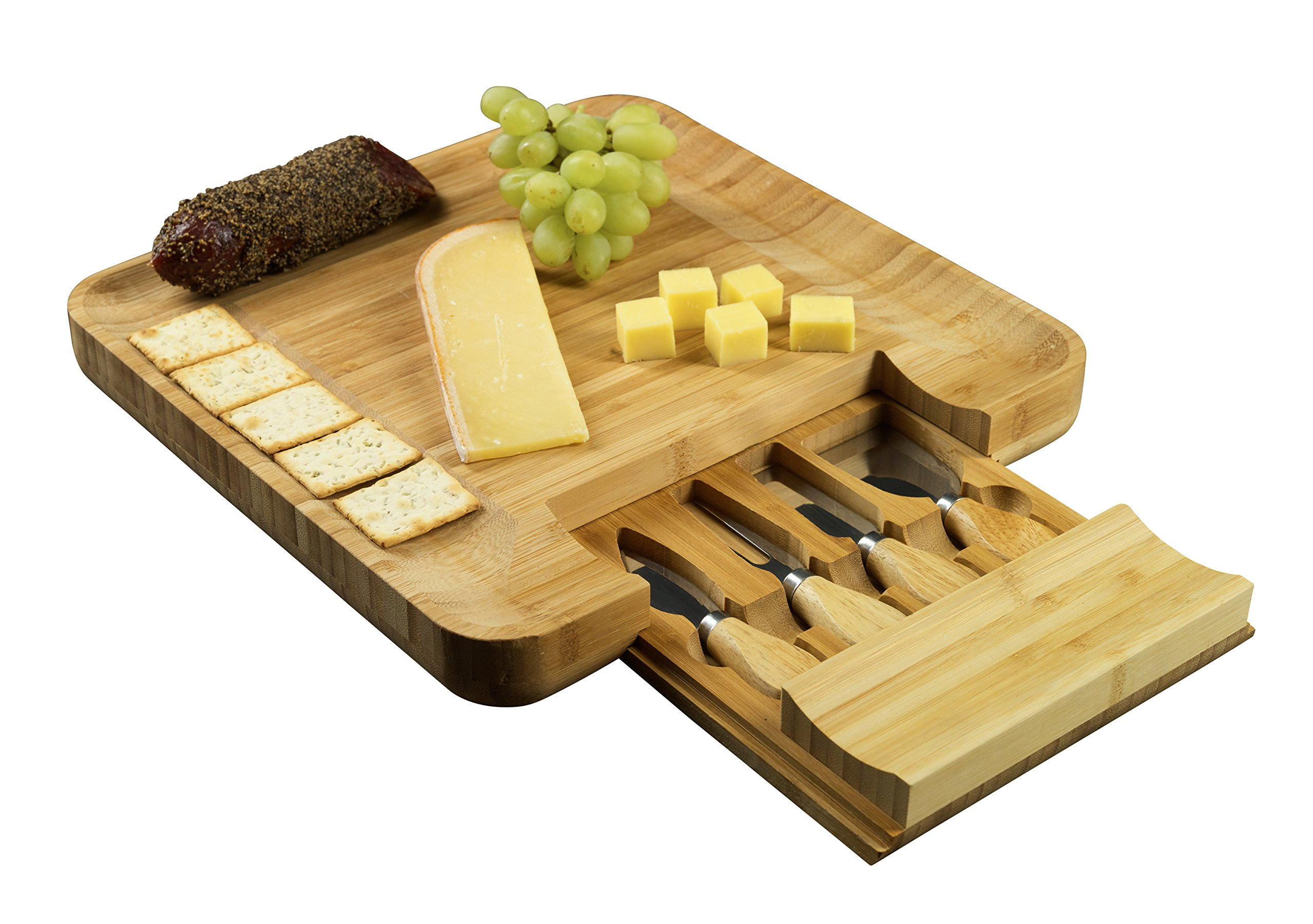 Bamboo Cheese Board and Cutlery Set, Meat and Charcuterie Wood Serving Tray with Slide-Out Drawer that holds 4 Stainless Steel Serving Knives and Utensils. Perfect for Cocktail Parties or as a Gift