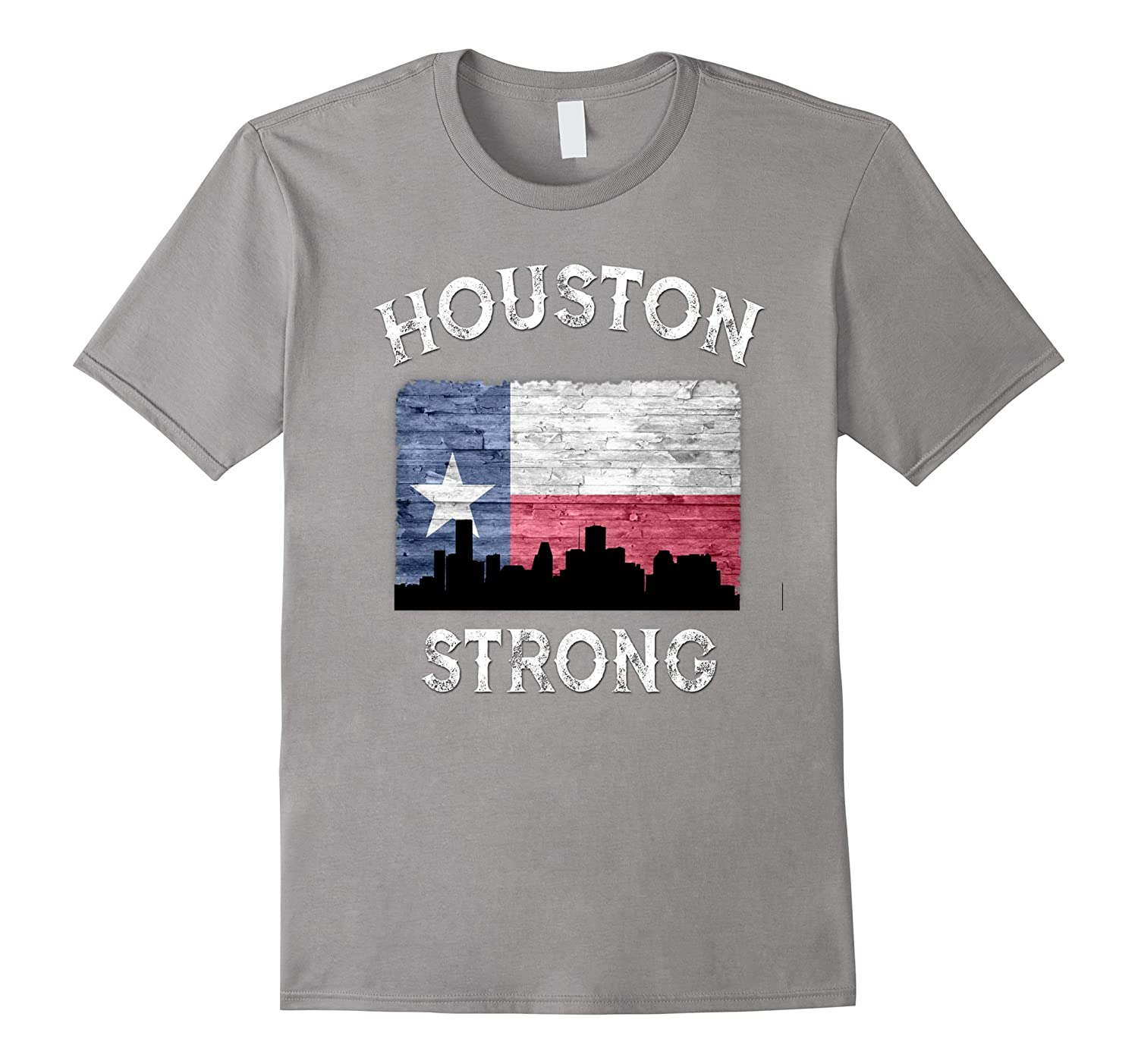 Houston Strong Skyline State Of Texas Flag T-Shirt-FL