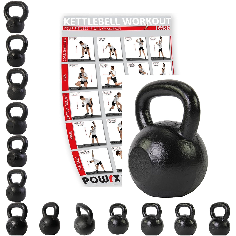Pesa rusa de Powrx, de 4 a 30 kg, hierro fundido, Incluye tabla de ejercicios, pesa de gimnasia oscilante, con mancuernas, redonda, de hierro fundido: ...