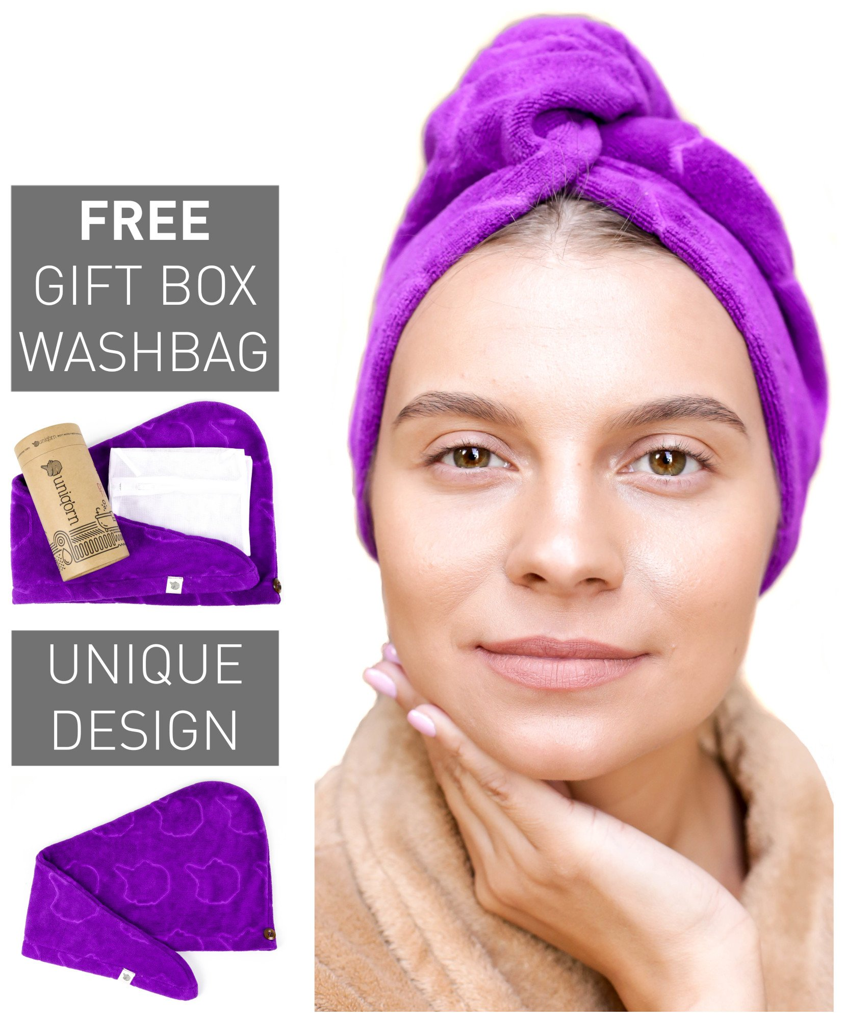 Uniq'orn - Ultra Absorbent & Quick Dry Microfiber Hair Towel, Large Size, Mesh Laundry Bag & Gift Box Included