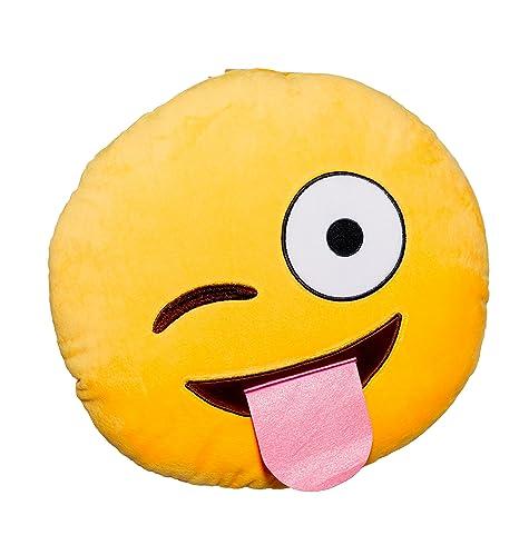 Amazon.com: Ojo Abierto Lengua Fuera Emoji Cojín redondo ...