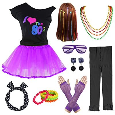 80's Party Girls Retro Costume Accessories Set for 1980s Theme Party Supplies: Clothing