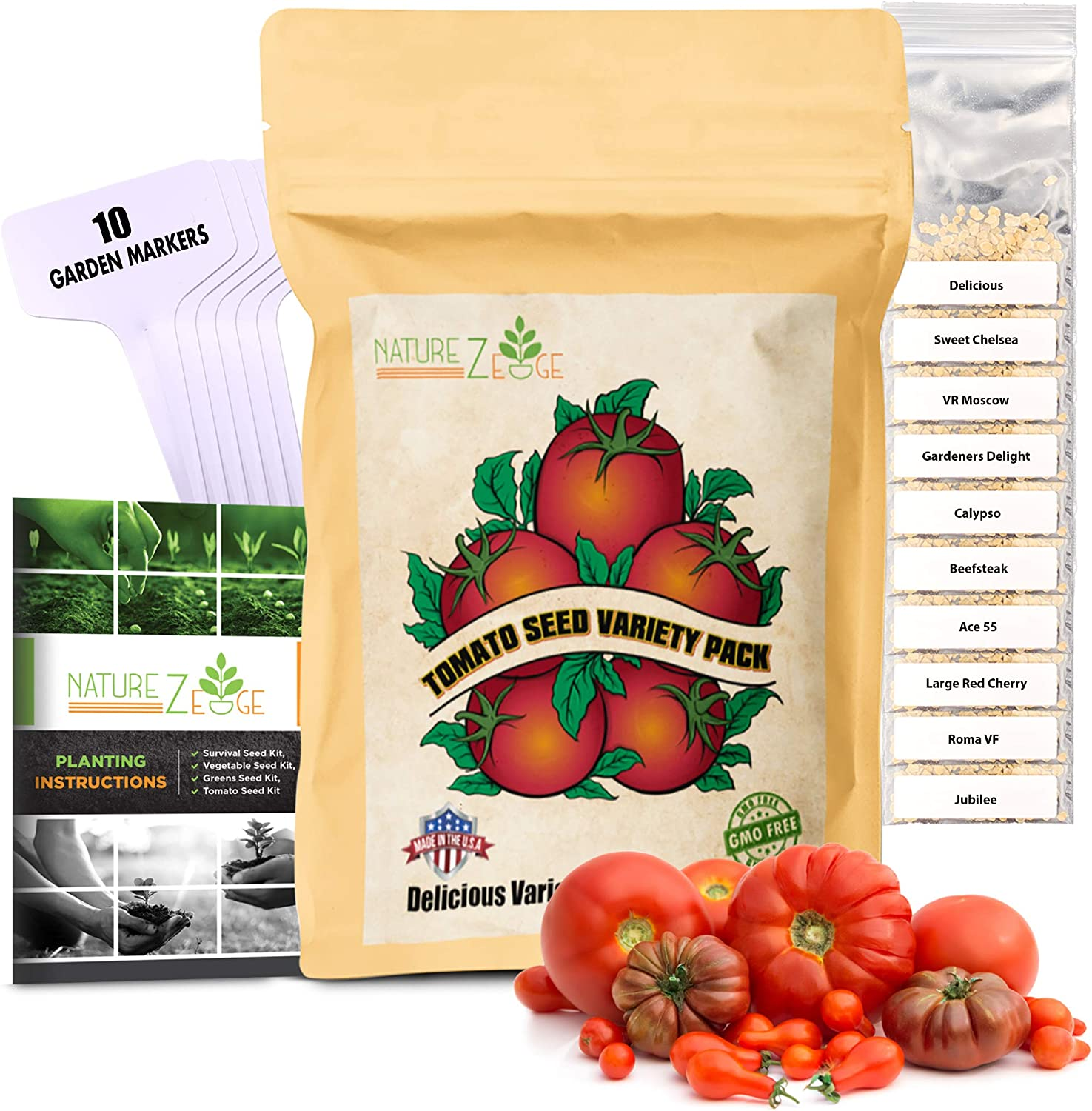 NatureZ Edge Heirloom Tomato Seeds for Planting Home Garden - 10 Heirloom Tomatoes Variety Pack and 10 Garden Markers - Non GMO Heirloom Tomatoes Seeds - Beefsteak, Jubilee, Cherry, Roma, and More