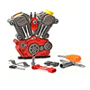 King Of Toys Educational Build-Your-Own Engine Over 25 Piece Play Set Kit with LIGHT'S & SOUNDS (Build & Re-build)  Special KID'S SAFE Storage Bag  to protect from loosing pieces included.
