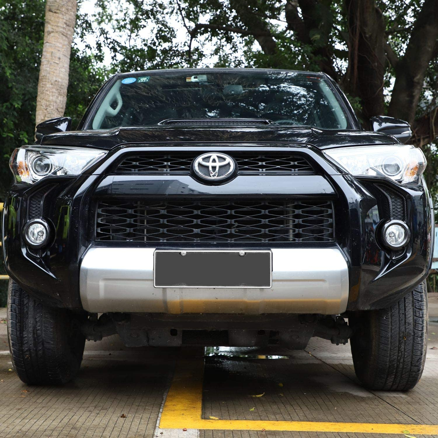 2pcs Voodonala for 4Runner ABS Carbon Fiber Fog Light Trim for 2010-2019 Toyota 4Runner SR5 TRD Pro