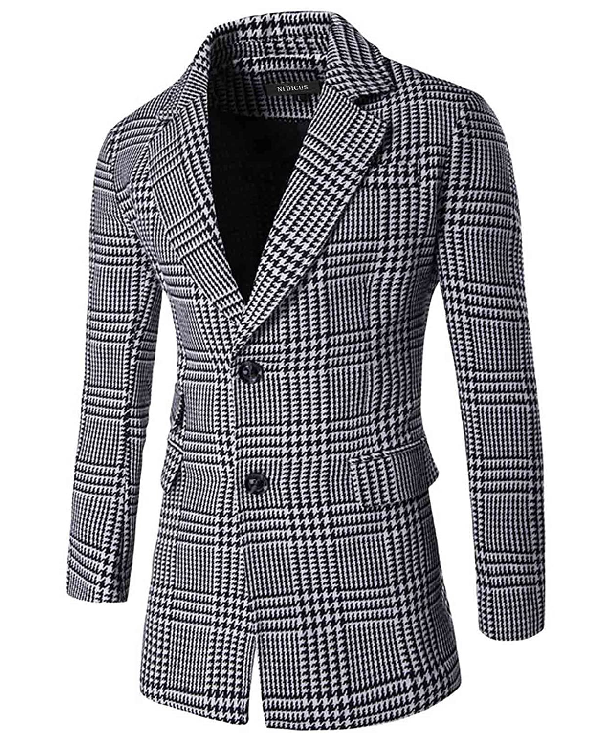 Nidicus Mens Retro Plaid Houndstooth Check 2-Button