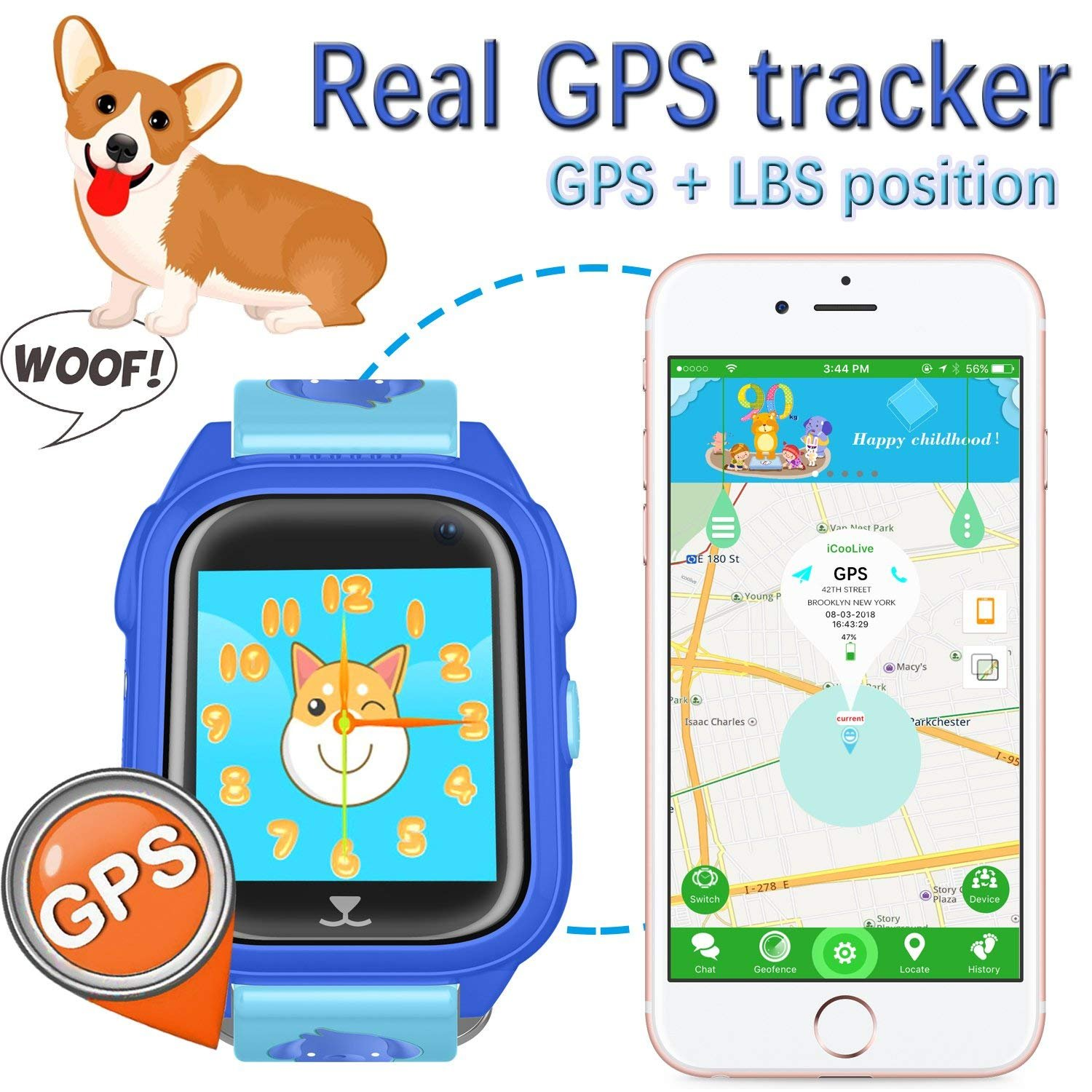 iCooLive Waterproof IP67 Kids Smart Watch Accurate GPS Tracker with FREE SIM CARD for Kid Boys Girls Smartwatch Phone watch Game watch with SOS Call Camera Electronic Learning Toys Birthday Gift by iCooLive (Image #3)