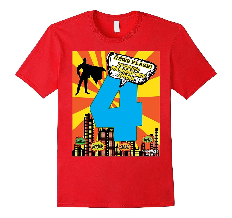 Superhero Birthday Shirts For Boys Size 4 Four Party Theme BN Banazatee