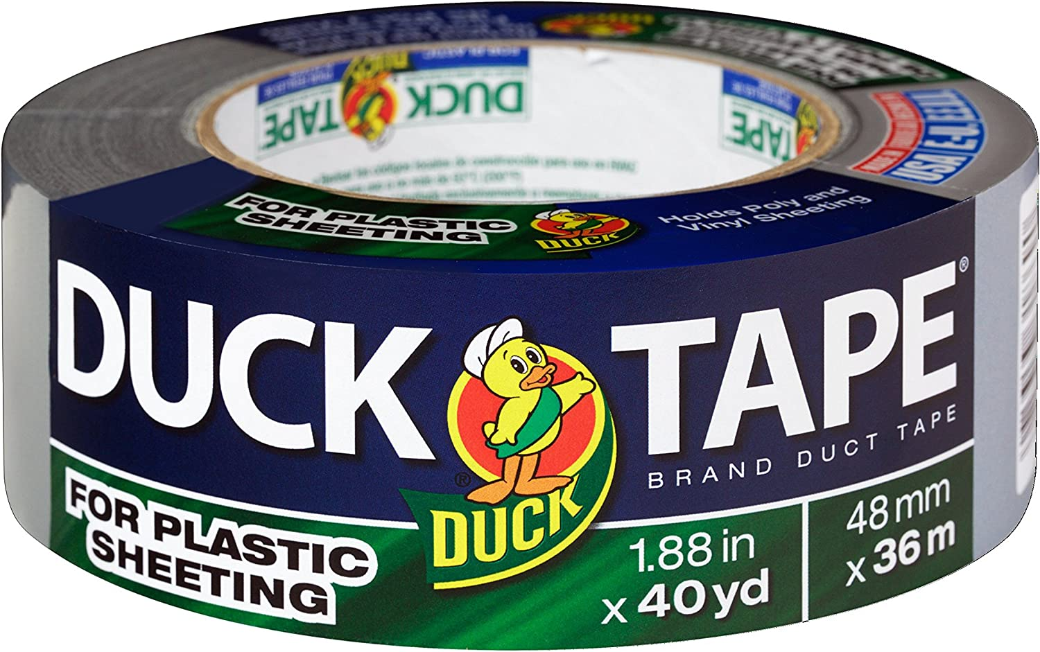 Duck Brand 241026 Duct Tape for Plastic Sheeting, Silver, 1.88 Inches x 40 Yards, Single Roll