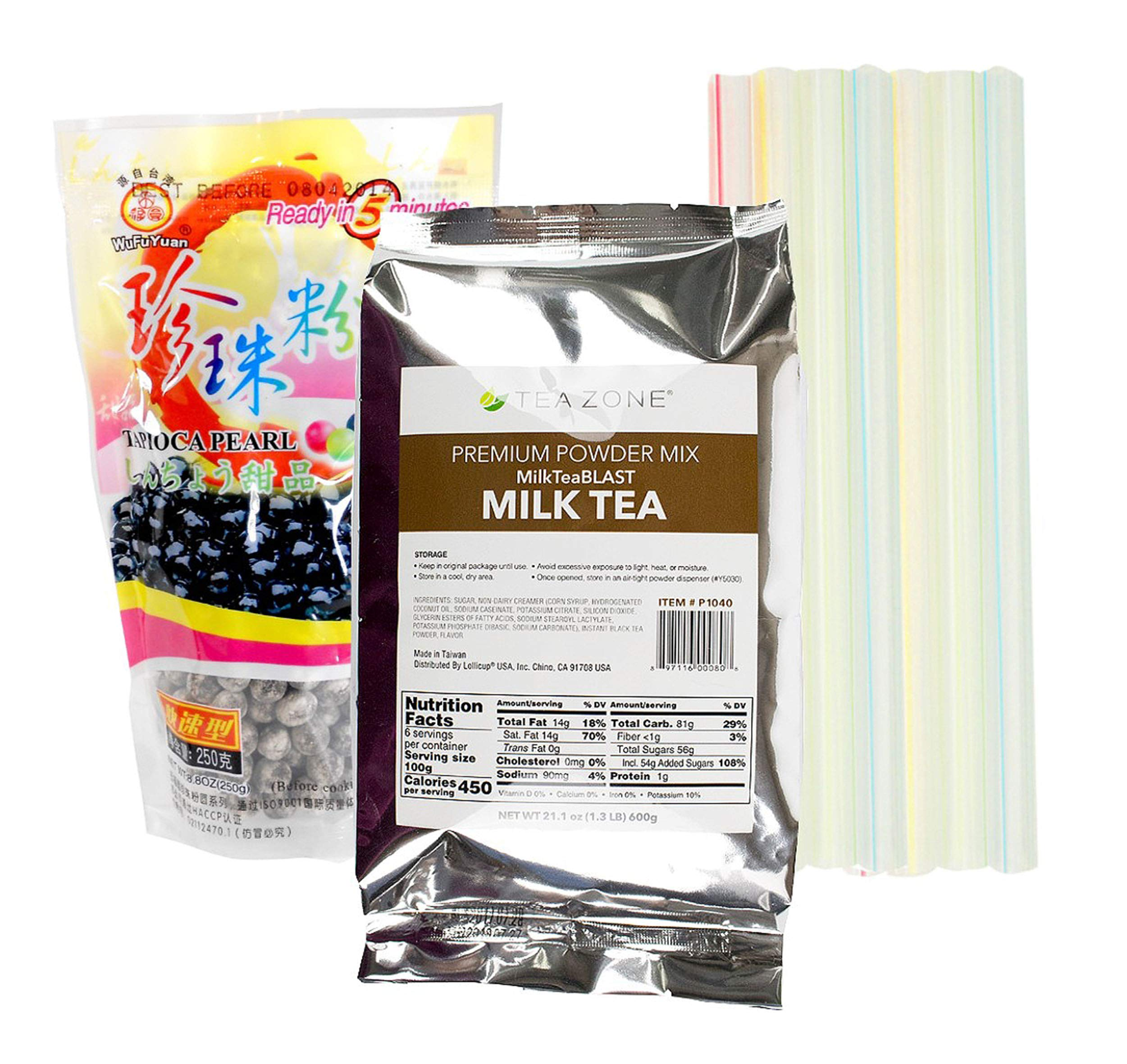 Boba Bubble Tea Milk Tea Kit with 1 Tea Zone Instant Milk Tea, 1 Black WuFuYuan Tapioca Pearls and 10 Boba Wide Straws Individually Wrapped by TastyKitchen