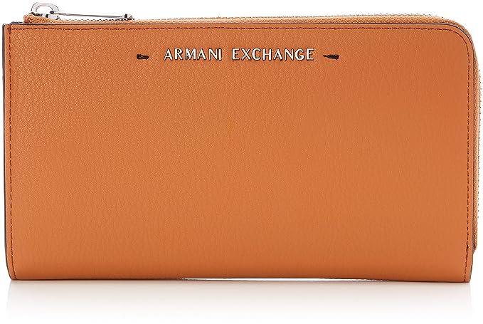 Armani Exchange - Stitched Round Zip Wallet, Carteras Mujer, Marrón (Cognac),
