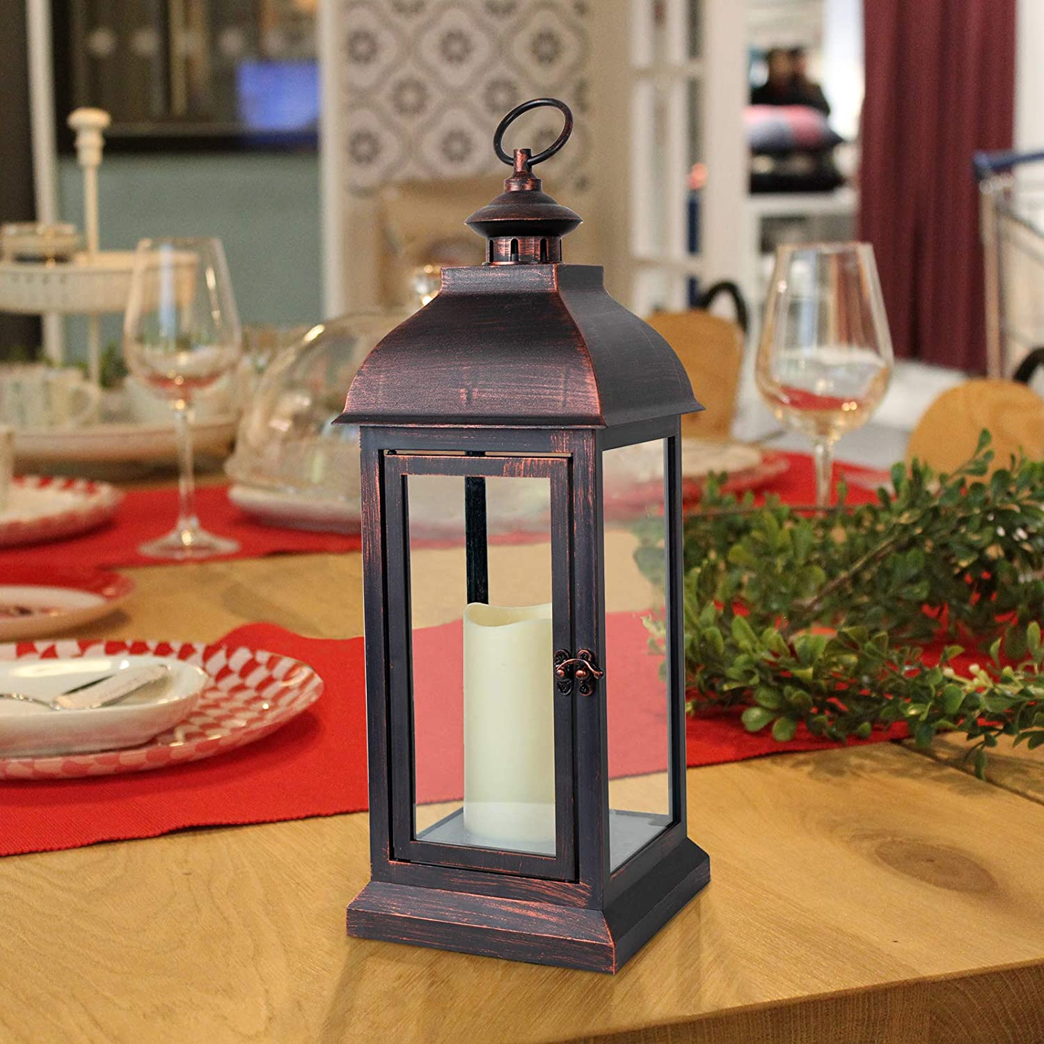 Decorative Candle Lantern with Timer Flameless Candle for 16''H Lamp Outdoor and Indoor Hanging,Table,Unique Eaves Design Waterproof (Bronze Paint)