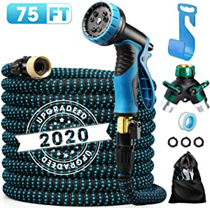 "Delxo 2020 Upgrade 75FT Expandable Garden Hose Water Hose with 9-Function High-Pressure Spray Nozzle, Heavy Duty Flexible Hose, 3/4"" Solid Brass Fittings Leakproof Design"