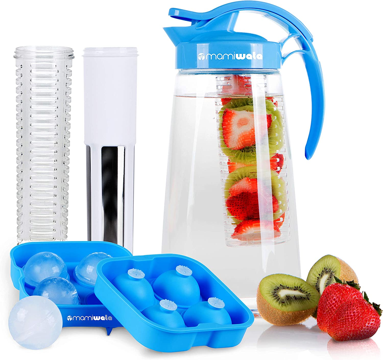 Fruit & Tea Infusion Water Pitcher - The PERFECT Birthday Gift - Free Ice Ball Maker - Free Infused Water Recipe Booklet - Includes Shatterproof Jug, Fruit Infuser, and Tea Infuser