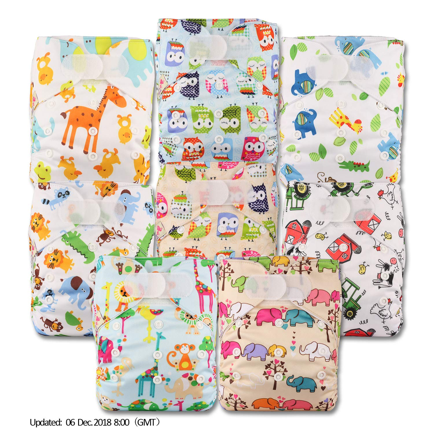 Fastener: Hook-Loop Without Insert Littles /& Bloomz Patterns 810 Set of 8 Reusable Pocket Cloth Nappy