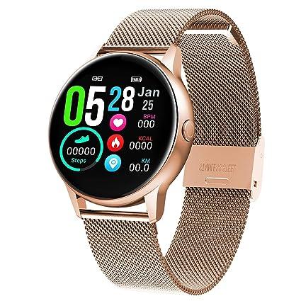 XMYL Smartwatch Mujer, Reloj Inteligente Elegante Pulsera de Actividad Impermeable IP68 con Pulsómetros Podómetro, para Teléfono Inteligente Android ...