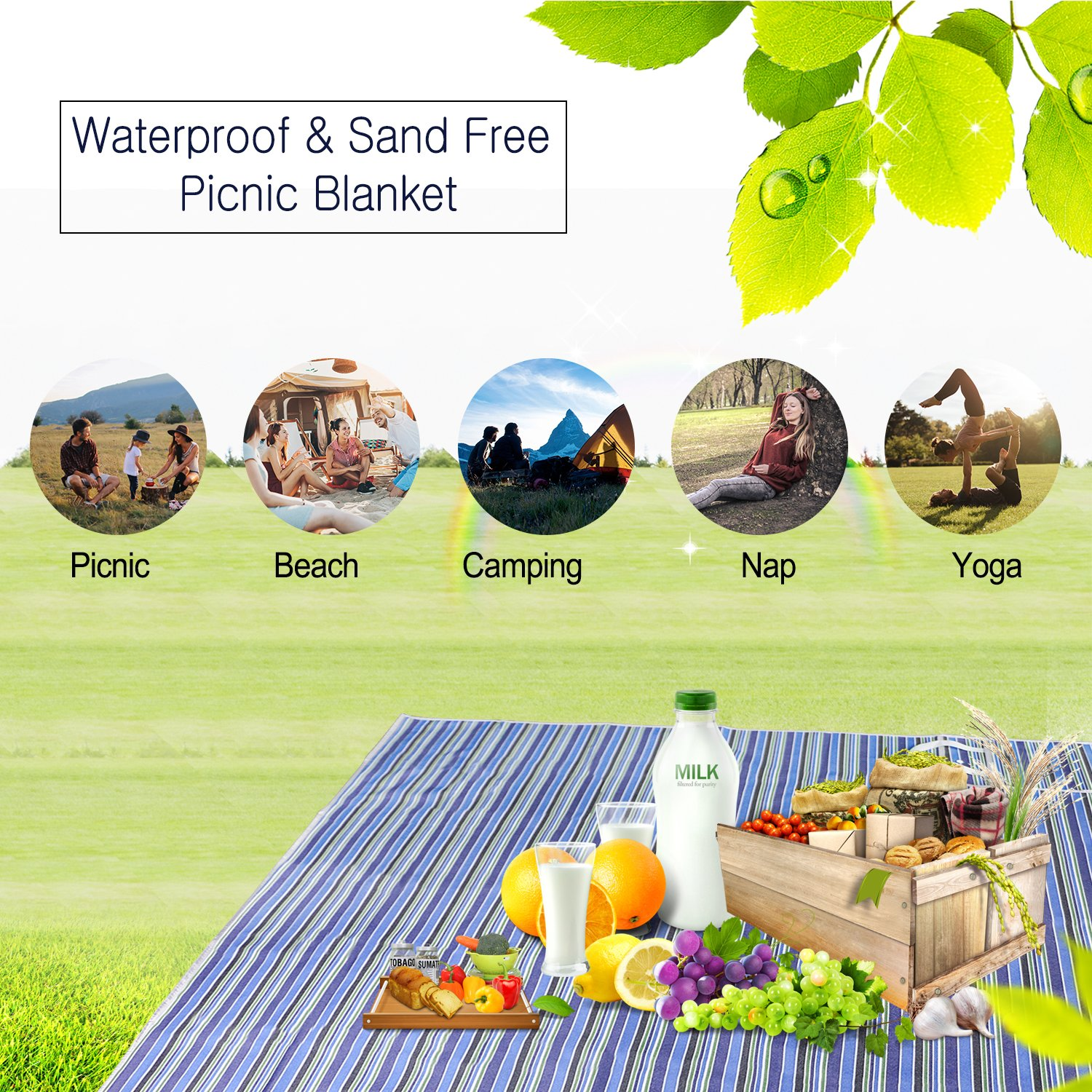 Weeygo 150 x 145 cm Picnic Blanket Waterproof Backing Outdoor Travel Beach Rug Mat with Handle for Camping Hiking Park Grass