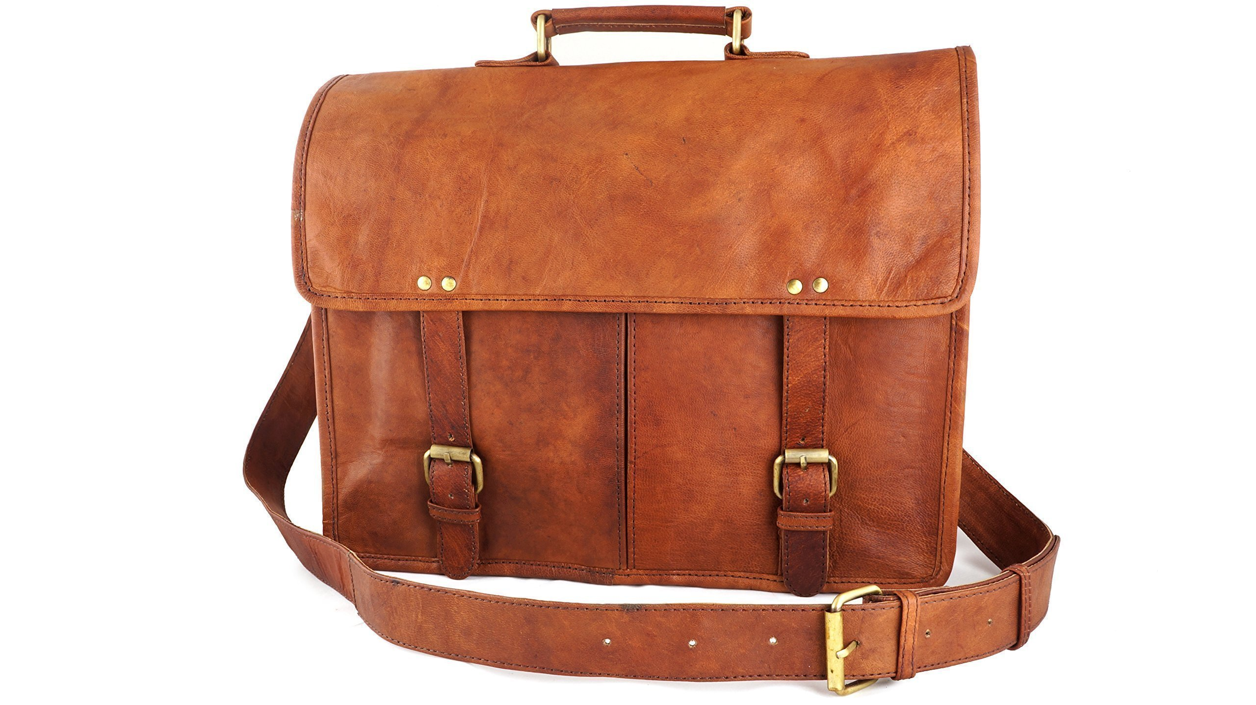 14'' Vintage Rustic Distressed Brown Leather Satchel Messenger Bag for Laptop Old School Style