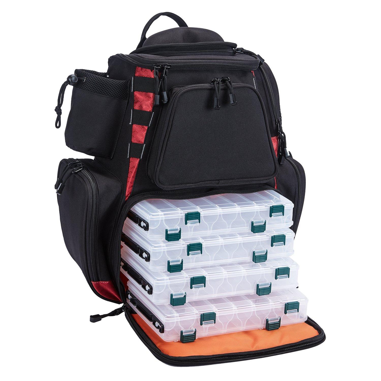 Amazon.com  Piscifun Fishing Tackle Backpack Large Capacity Waterproof  Fishing Tackle Bag with 4 Tray Tackle Box and Protective Rain Cover Black   Sports   ... 253631be86