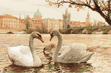 Riolis 1364 N//A Swans Prague Counted Cross Stitch Kit-17.75x11.75 14Count