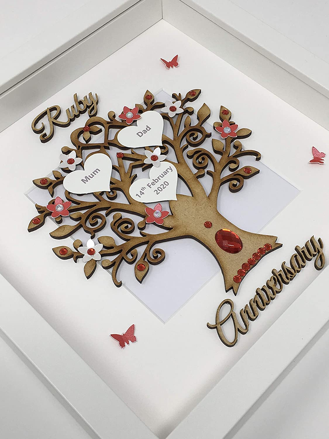 Wooden 40 Years 40th Ruby Wedding Anniversary Family Tree Picture Frame Gift Personalised