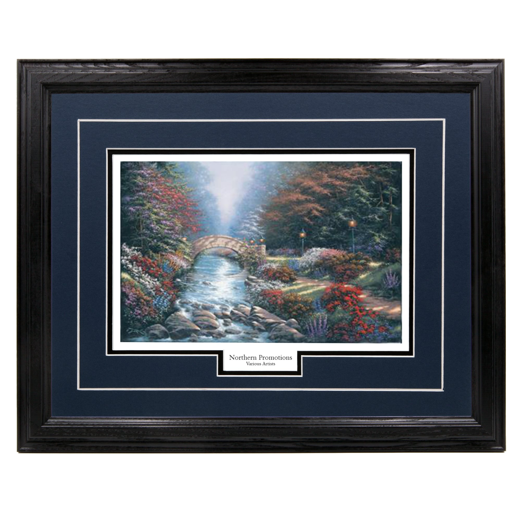 ''Pathway of Dreams'' - Derk Hansen, Rustic Arched Bridge, Stream, and Garden Park Wall Art Print for Home / Office / Hotel / Gift, 17 x 21 in., Blue Mat / Black Frame – More Frames Available