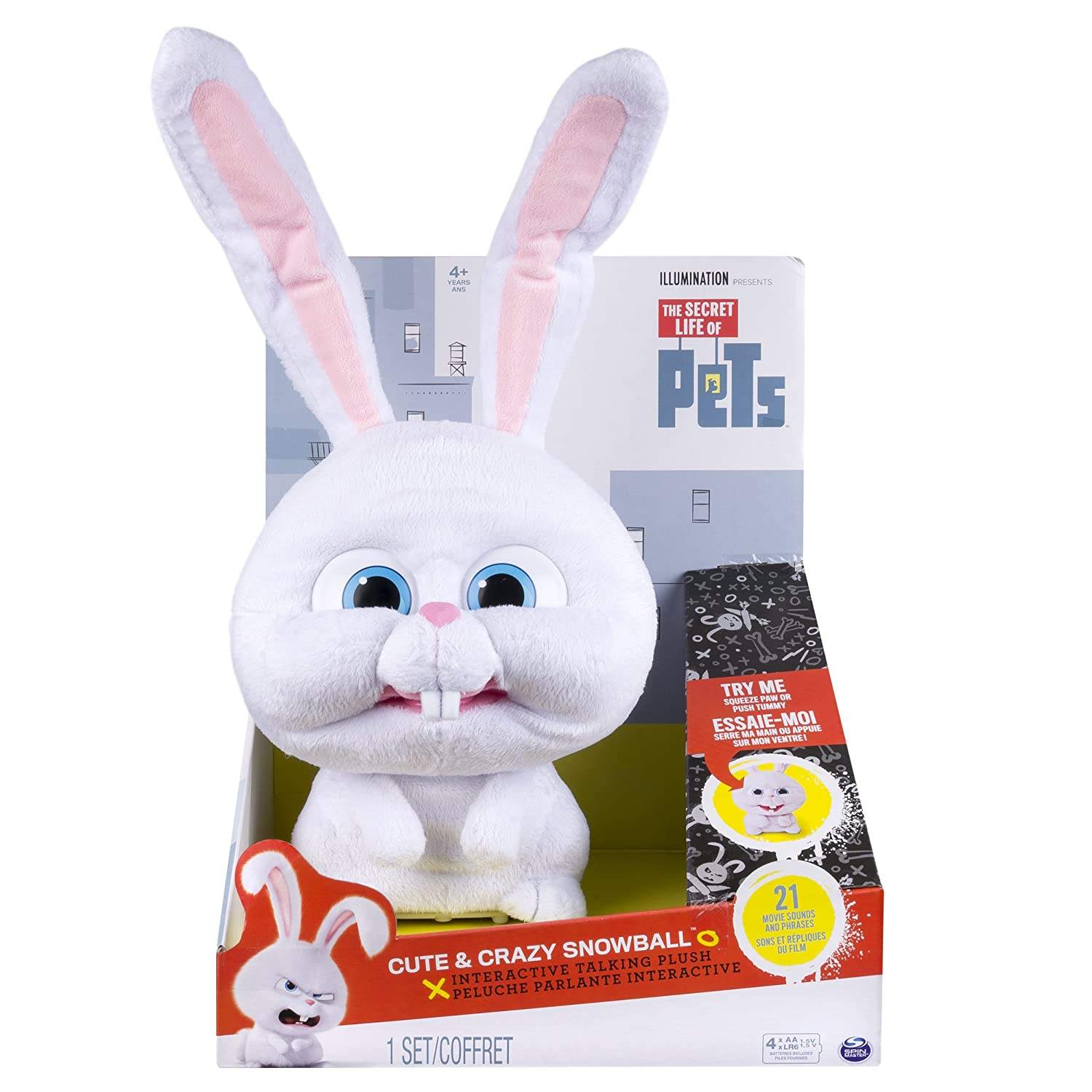 Interactive Talking Plush Spin Master 6028107 Cute /& Crazy Snowball The Secret Life of Pets