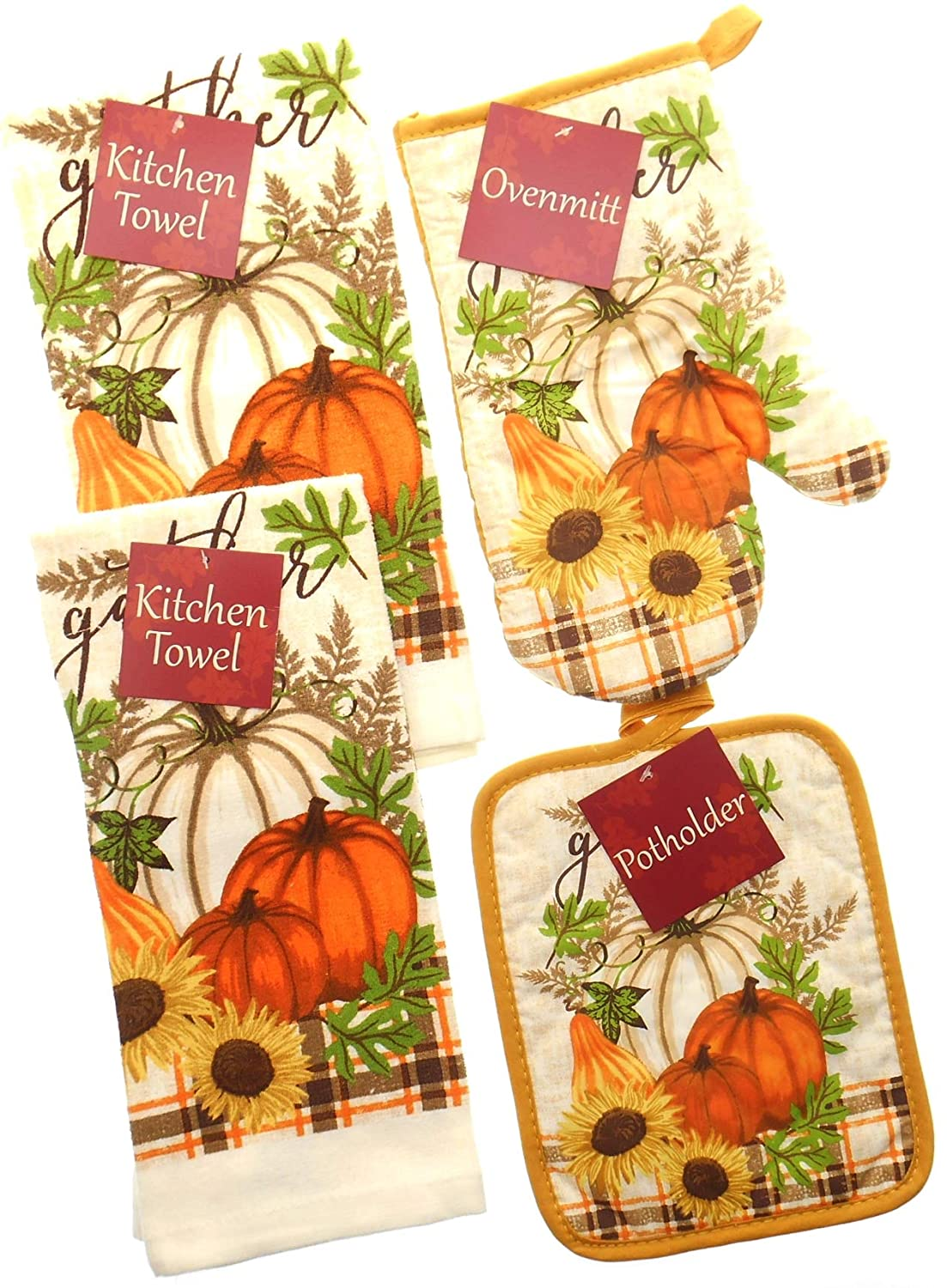 Gather with Orange and Brown Plaid Accent Kitchen Towel Set. Featuring Orange and White Pumpkin. Bundle of 4 Includes 2 Towels, 1 Oven Mitt and 1 Pot Holder. Fall Kitchen Towels Set. Mainstream
