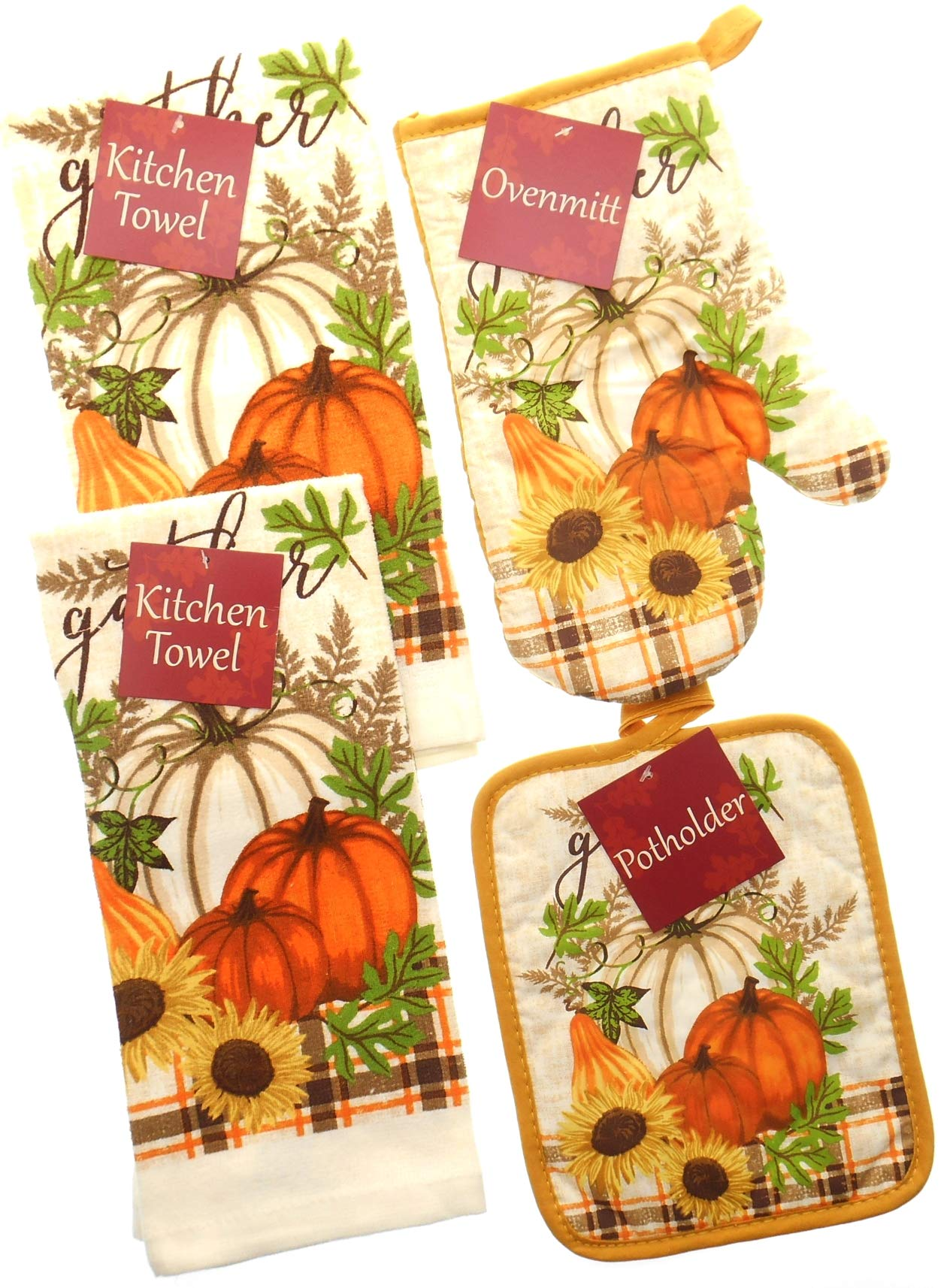 Gather with Orange and Brown Plaid Accent Kitchen Towel Set. Featuring Orange and White Pumpkin. Bundle of 4 Includes 2 Towels, 1 Oven Mitt and 1 Pot Holder. Fall Kitchen Towels Set.