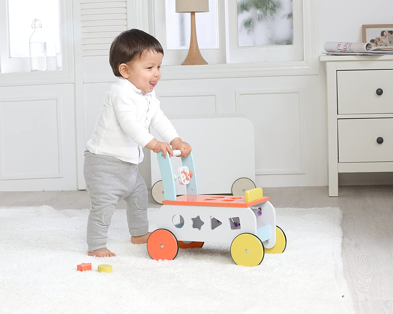 Amazon.com : Labebe Baby Walker with Wheel, Orange Fox Printed Wooden Push Toy, 3-in-1 Wooden Activity Walker for Baby 1-3 Years, Walker Infant/Activity ...