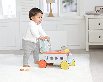 Amazon.com : Labebe Baby Walker with Wheel, Orange Fox Printed Wooden Push Toy, 3-in-1 Wooden Activity Walker for Baby 1-3 Years, Walker Infant/Activity ...