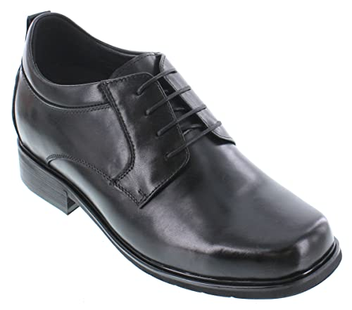 c5004559e6f CALTO Men's Invisible Height Increasing Elevator Shoes - Black Premium  Leather Lace-up Casual Derby