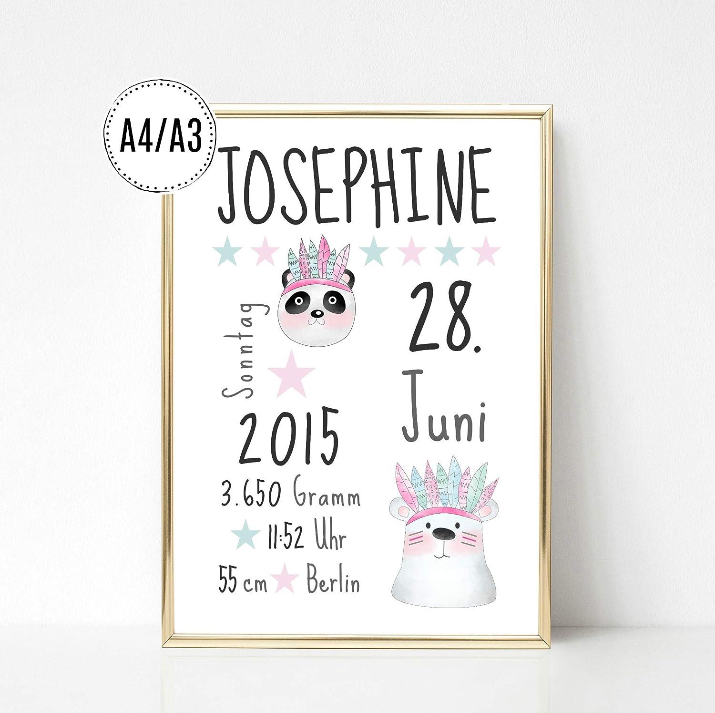 Kinderposter Geburtsanzeige Namensbild Eisbär Mädchen - Geburtsdruck mit Wunschname und individuellen Daten für Mädchen, Geschenkidee zur Geburt, Taufe, Geburtstag; Kinderzimmer Wandbild - ungerahmt