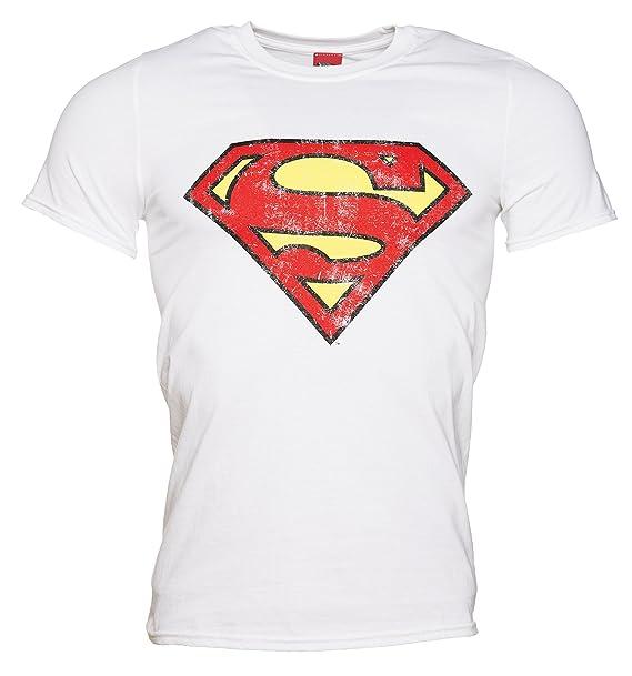 Amazon Truffleshuffle Mens White Distressed Superman Logo T
