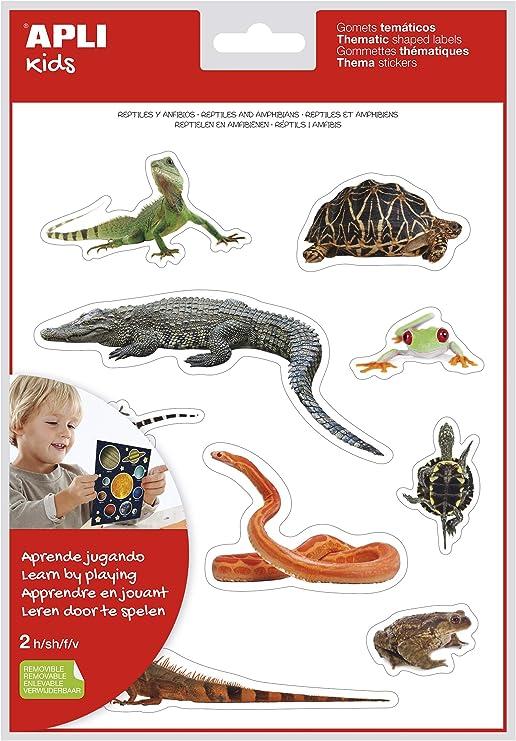 APLI Kids - Bolsa de gomets, 2 hojas, Reptiles y anfibios - realistas: Amazon.es: Oficina y papelería