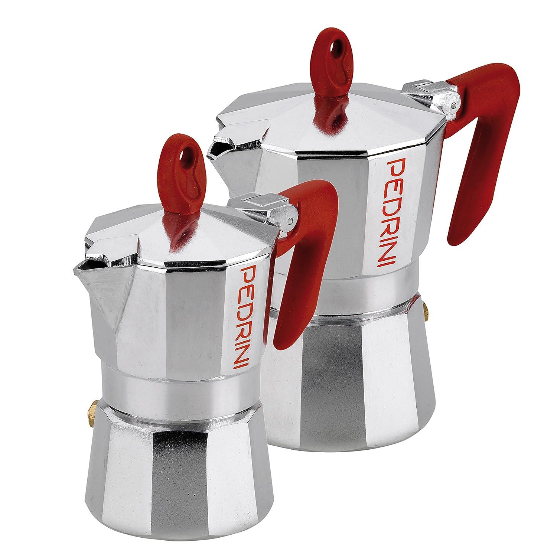 Pedrini: 1Cup, 3Cup Espresso Coffee Pots Polished Aluminium (2Pieces) W1273