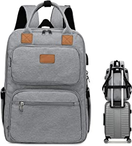 CAMTOP School Backpack Men Women Laptop Backpacks USB Charging Business Travel Backpack with Luggage Strap (Gray-8698)